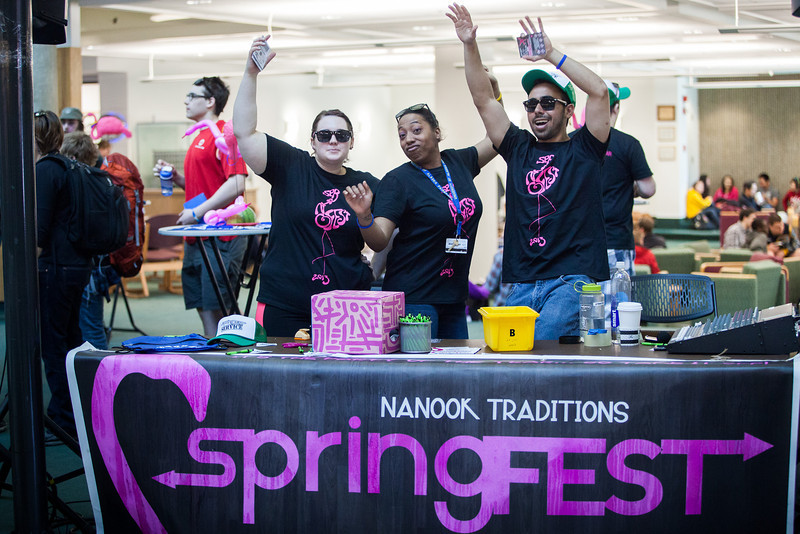 "From left, Danielle Atkins, Nerissa Burns, and Aaron Orr dance during the 2013 Spring Fest indoor barbecue.  <div class=""ss-paypal-button"">Filename: LIF-13-3799-58.jpg</div><div class=""ss-paypal-button-end"" style=""""></div>"