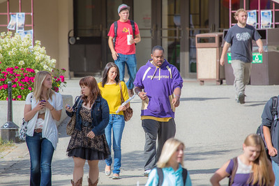 Students leave the Wood Center on the first day of classes in the fall 2012 semester.  Filename: LIF-12-3529-126.jpg