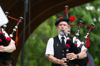 Fairbanks Red Hackle Pipe Band kicks off Summer Sessions' Music in the Garden series at the Georgeson Botanical Garden.  Filename: LIF-12-3426-47.jpg