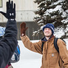 "Participant Andrew Sharp, gives a celebratory high five to a fellow student at a UAF ResLife-sponsored Human vs. Zombies game on campus.  <div class=""ss-paypal-button"">Filename: LIF-13-3784-122.jpg</div><div class=""ss-paypal-button-end"" style=""""></div>"