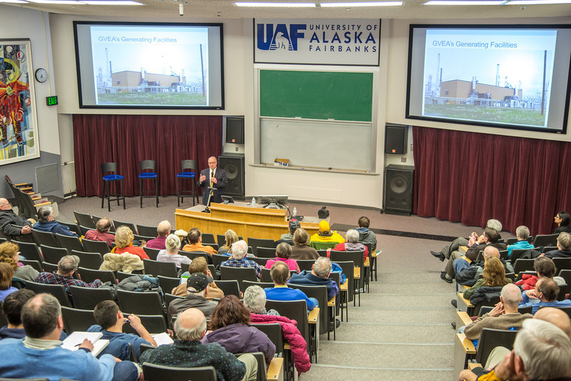 """Cory Borgeson, President and Chief Executive Officer for Golden Valley Electric Association, addressed the Fairbanks community with a presentation on energy issues Jan. 10 in Schaible Auditorium. Borgeson is also an adjunct professor with UAF's School of Management teaching a class on business law each semester.  <div class=""""ss-paypal-button"""">Filename: LIF-13-3694-45.jpg</div><div class=""""ss-paypal-button-end"""" style=""""""""></div>"""