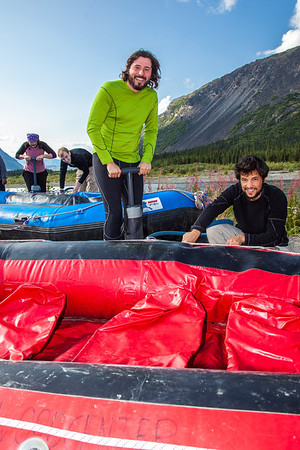 """Participants in a UAF Outdoor Adventures day-long raft trip prepare to paddle down the Nenana River.  <div class=""""ss-paypal-button"""">Filename: OUT-12-3492-011.jpg</div><div class=""""ss-paypal-button-end"""" style=""""""""></div>"""