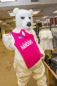 The UAF mascot shops for some new clothes in the UAF Bookstore in Constitution Hall.  Filename: LIF-14-4101-62.jpg