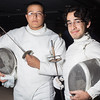"Diego Davila, left, and Chris Romo of the UAF Fencing Club pose for a portrait during the Student Organization Fair Wednesday, October 3, 2012 at Wood Center. Davila and Romo also demonstrated their fencing art to other students.  <div class=""ss-paypal-button"">Filename: LIF-12-3576-3.jpg</div><div class=""ss-paypal-button-end"" style=""""></div>"