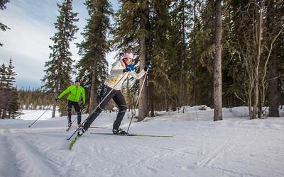 UAF students Ian Wilkinson and Raphaela Sieber enjoy a morning loop around the campus ski trails.  Filename: LIF-12-3348-18.jpg
