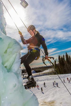 Engineering major Heather Edic enjoys a late season climb up the UAF ice wall on April 4.  Filename: LIF-14-4132-29.jpg