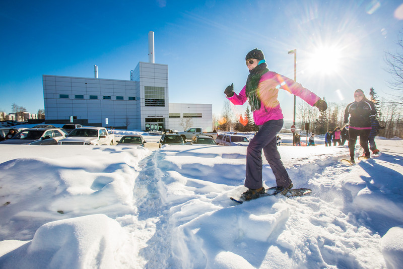 """Participants take off at the start of the second annual Troth Yeddha' Park Snowshoe Scramble Saturday, March 1 to help raise awareness for the proposed park to help celebrate Alaska's Native culture.  <div class=""""ss-paypal-button"""">Filename: LIF-14-4079-20.jpg</div><div class=""""ss-paypal-button-end"""" style=""""""""></div>"""