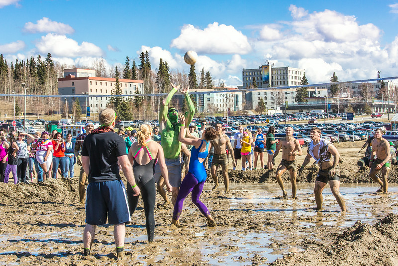 """A participant in the 2014 SpringFest mud volleyball bouts makes a return.  <div class=""""ss-paypal-button"""">Filename: LIF-14-4167-81.jpg</div><div class=""""ss-paypal-button-end""""></div>"""