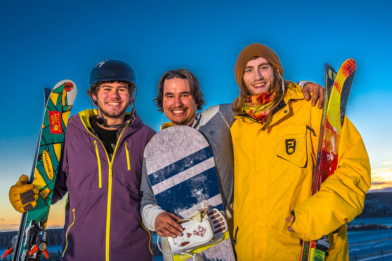 """Student employees Logan Pitney, left, Frank Dayo and Cal Whitehill are all smiles after testing some of the new features of UAF's terrain park.  <div class=""""ss-paypal-button"""">Filename: LIF-13-3746-94.jpg</div><div class=""""ss-paypal-button-end"""" style=""""""""></div>"""