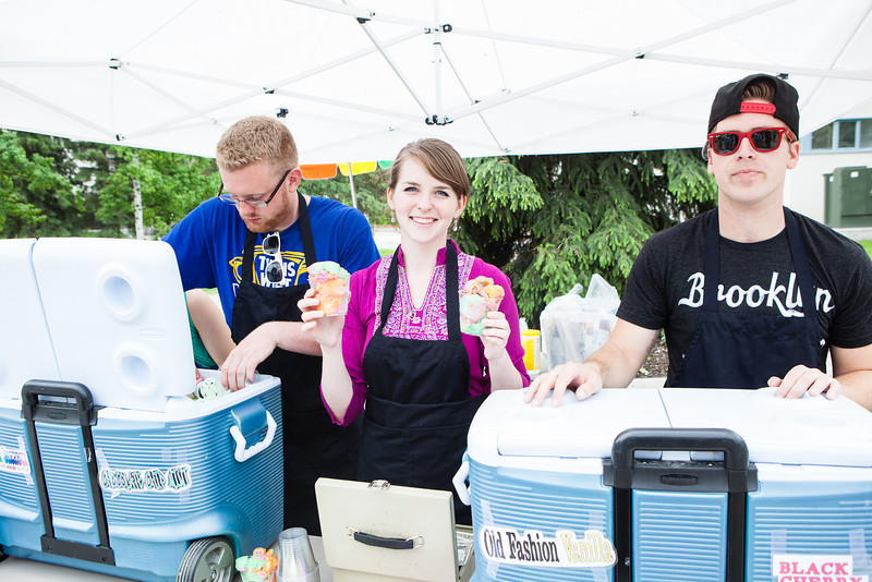 "RJ Mikulski, Alexandra Roberts, and John Herman from Student Activities Office serve ice cream on Thursdays to students, campers, and community members on campus.  <div class=""ss-paypal-button"">Filename: LIF-12-3425-3.jpg</div><div class=""ss-paypal-button-end"" style=""""></div>"