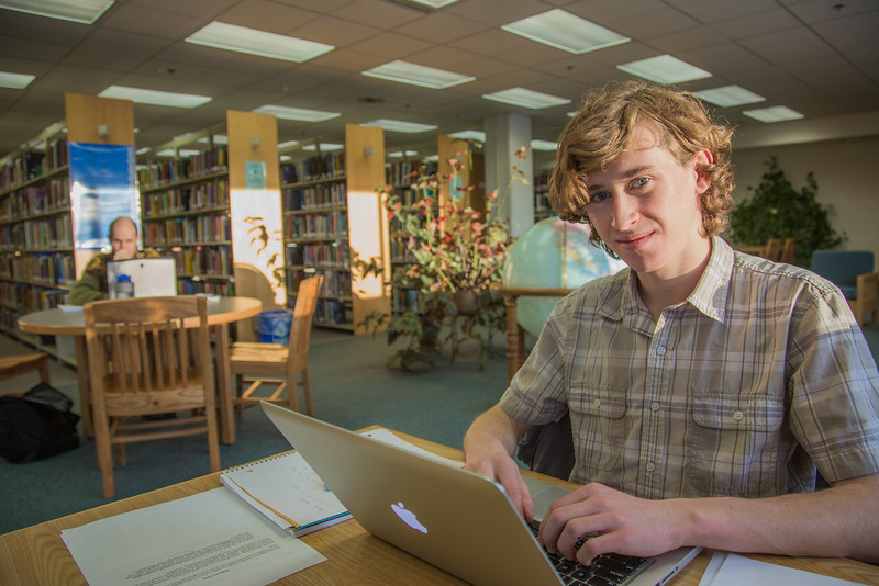 """Freshman political science major Jake Gerrish catches up on some studying on the 5th floor of the Rasmuson Library.  <div class=""""ss-paypal-button"""">Filename: LIF-14-4045-108.jpg</div><div class=""""ss-paypal-button-end"""" style=""""""""></div>"""