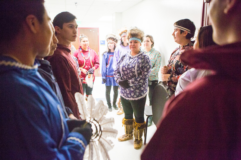"""Inu-Yupiaq Dancers of UAF wait offstage before performing at the 2016 Festival of Native Arts at the Davis Concert Hall.  <div class=""""ss-paypal-button"""">Filename: LIF-16-4836-5.jpg</div><div class=""""ss-paypal-button-end""""></div>"""