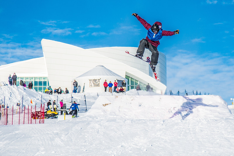 """UAF students and local high schoolers signed up to compete in the inaugural si and snowboard jump competition on the new terrain park in March, 2013.  <div class=""""ss-paypal-button"""">Filename: LIF-13-3750-241.jpg</div><div class=""""ss-paypal-button-end"""" style=""""""""></div>"""