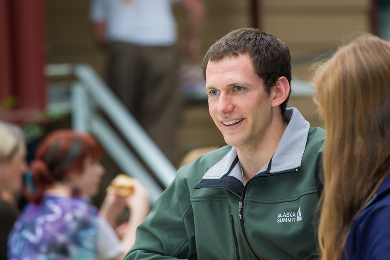 "Shaun Nesheim visits with other students at the annual UAF Honors House welcome barbeque.  <div class=""ss-paypal-button"">Filename: LIF-12-3523-02.jpg</div><div class=""ss-paypal-button-end"" style=""""></div>"