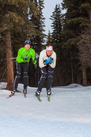 UAF students Ian Wilkinson and Raphaela Sieber enjoy a morning loop around the campus ski trails.  Filename: LIF-12-3348-77.jpg