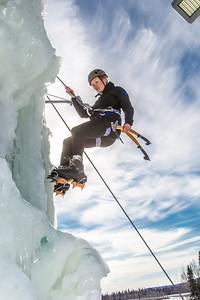 Engineering major Heather Edic enjoys a late season climb up the UAF ice wall on April 4.  Filename: LIF-14-4132-23.jpg