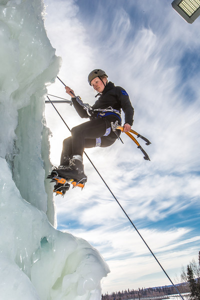 "Engineering major Heather Edic enjoys a late season climb up the UAF ice wall on April 4.  <div class=""ss-paypal-button"">Filename: LIF-14-4132-23.jpg</div><div class=""ss-paypal-button-end"" style=""""></div>"