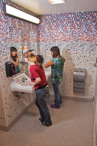 "Skarland Hall residents Hailley Myers, left, and  Sara Spindler get ready for a day of classes in one of the dorm's newly re-modeled bathrooms.  <div class=""ss-paypal-button"">Filename: LIF-12-3322-127.jpg</div><div class=""ss-paypal-button-end"" style=""""></div>"