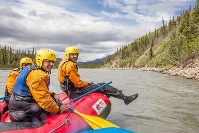 International students joined UAF Outdoor Adventures on a raft trip down the Nenana River in June, 2014.  Filename: OUT-14-4211-209.jpg