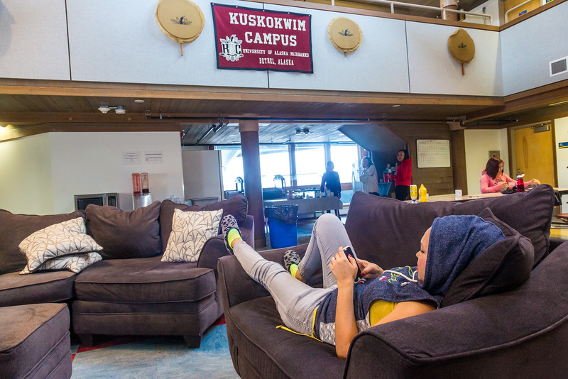 """Vicki Wiseman from Chefornak and other residents from rural Alaska relax after a day of classes in Sackett Hall at UAF's Kuskokwim Campus in Bethel.  <div class=""""ss-paypal-button"""">Filename: LIF-16-4859-534-2.jpg</div><div class=""""ss-paypal-button-end""""></div>"""