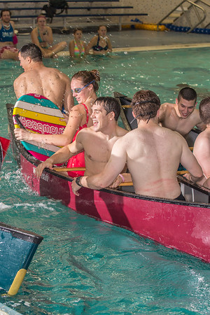 Battleship is a popular intramural sport at UAF. Teams in canoes try to swamp each other's boats during a tournament in the Patty pool.  Filename: LIF-13-3975-11.jpg