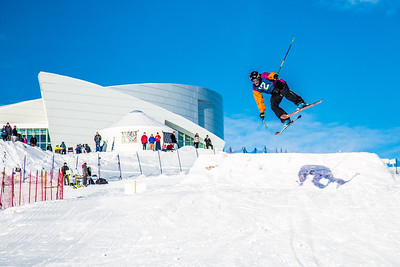 UAF students and local high schoolers signed up to compete in the inaugural si and snowboard jump competition on the new terrain park in March, 2013.  Filename: LIF-13-3750-265.jpg