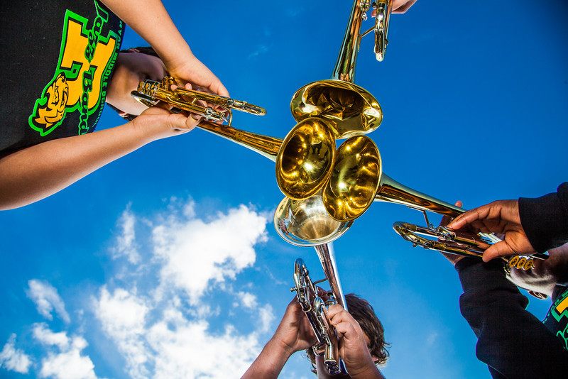 """Participants in UAF's recent JazzFest put their horns together to make some sweet sounds in front of the Fine Arts Complex.  <div class=""""ss-paypal-button"""">Filename: LIF-12-3354-20.jpg</div><div class=""""ss-paypal-button-end"""" style=""""""""></div>"""