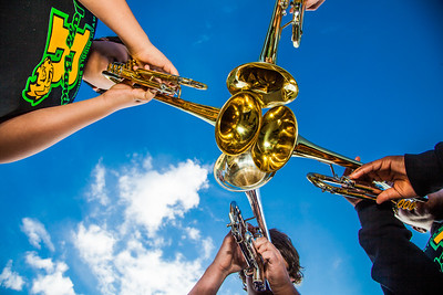 Participants in UAF's recent JazzFest put their horns together to make some sweet sounds in front of the Fine Arts Complex.  Filename: LIF-12-3354-20.jpg