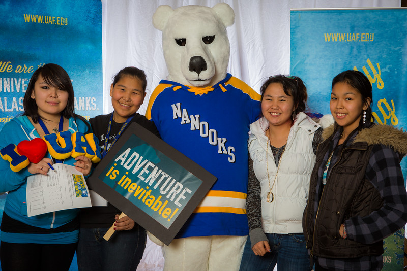 "Prospective students pose with the UAF mascot during the Fall 2015 Inside Out event hosted by UAF's office of admissions and the registrar.  <div class=""ss-paypal-button"">Filename: LIF-14-4353-16.jpg</div><div class=""ss-paypal-button-end""></div>"