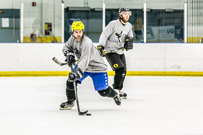 Intramural hockey action on a Tuesday night at the Patty Ice arena.  Filename: LIF-14-4111-345.jpg