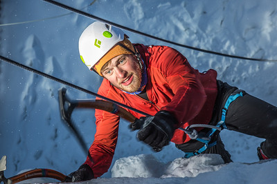 A competitor makes his way to the top of the ice wall during a climbing contest on March 1.  Filename: LIF-13-3748-45.jpg