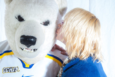 The Nanook mascot gets a kiss during UAF's  InsideOut event.  Filename: LIF-12-3334-111.jpg