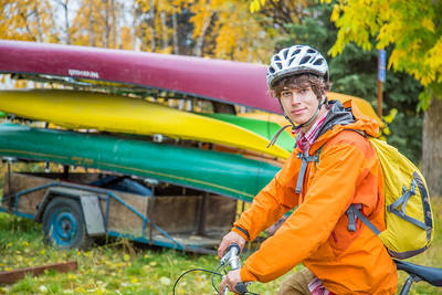 Mechanical engineering major Adam McCombs pauses after riding his bike to campus on a fall afternoon.  Filename: LIF-12-3557-015.jpg