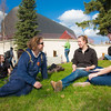 "Nick Nyquist (left) Kirsten Olson (center) and Carly Varness (right) eat lunch on the lawn in front of the Wood Center during the Spring Fest kick off barbeque.  <div class=""ss-paypal-button"">Filename: LIF-12-3375-37.jpg</div><div class=""ss-paypal-button-end"" style=""""></div>"