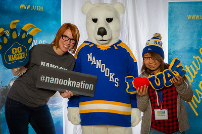 Prospective students pose with admissions staff and the UAF mascot during the Fall 2015 Inside Out event hosted by UAF's office of admissions and the registrar.  Filename: LIF-14-4353-80.jpg