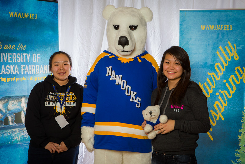 """Prospective students pose with the UAF mascot during the Fall 2015 Inside Out event hosted by UAF's office of admissions and the registrar.  <div class=""""ss-paypal-button"""">Filename: LIF-14-4353-43.jpg</div><div class=""""ss-paypal-button-end""""></div>"""