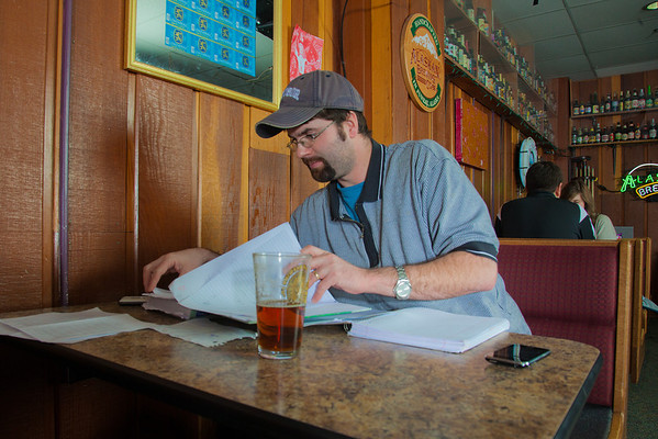 """Matt Chacho takes advantage of some time in the Wood Center Pub to prep for an upcoming test in his calculus class.  <div class=""""ss-paypal-button"""">Filename: LIF-11-3217-169.jpg</div><div class=""""ss-paypal-button-end"""" style=""""""""></div>"""