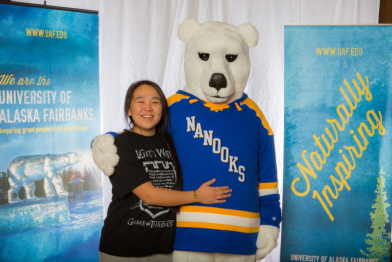 """Prospective students pose with the UAF mascot during the Fall 2015 Inside Out event hosted by UAF's office of admissions and the registrar.  <div class=""""ss-paypal-button"""">Filename: LIF-14-4353-11.jpg</div><div class=""""ss-paypal-button-end""""></div>"""