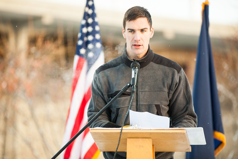 """Phil Hokenson reads proclamations from Alaska Governor Sean Parnell and U.S. President Barack Obama during the 2012 Veterans Day Memorial Roll Call after volunteers read 6,635 names of service members killed in action while serving in Iraq and Afghanistan, Monday, Nov. 12, 2012, at Constitution Park.  <div class=""""ss-paypal-button"""">Filename: LIF-12-3644-31.jpg</div><div class=""""ss-paypal-button-end"""" style=""""""""></div>"""