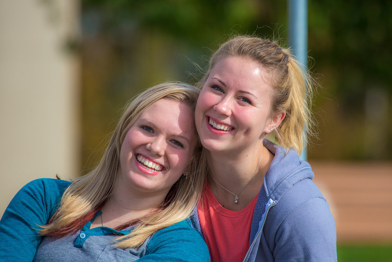 """Engineering majors Sarah La Belle, left, and Shyla Keays enjoy the nice weather on campus during the first day of classes for the fall semester.  <div class=""""ss-paypal-button"""">Filename: LIF-12-3529-059.jpg</div><div class=""""ss-paypal-button-end"""" style=""""""""></div>"""