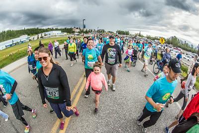 The Midnight Sun Run is a popular Fairbanks summer event including both runners and walkers. The annual race starts each year on the Fairbanks campus and ends at Pioneer Park.  Filename: LIF-14-4220-188.jpg
