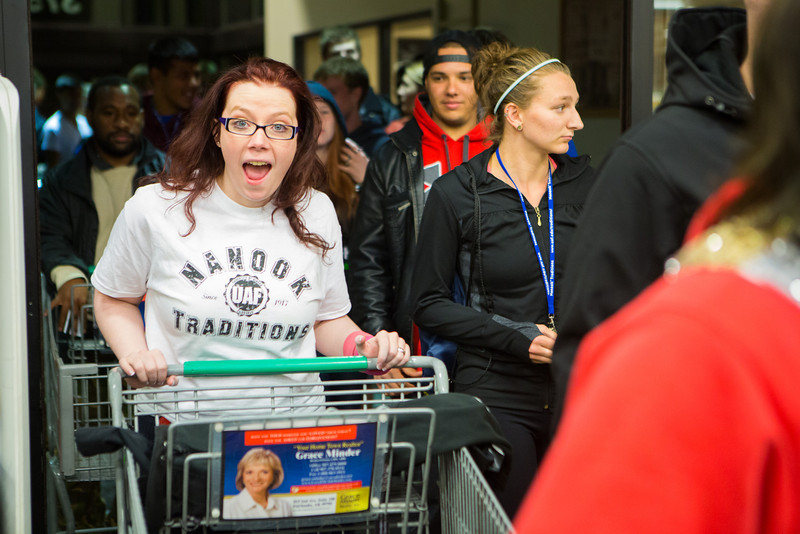 """Jessica Nippa enters the store during the Fred Meyer College Night shopping extravaganza.  <div class=""""ss-paypal-button"""">Filename: LIF-13-3926-11.jpg</div><div class=""""ss-paypal-button-end"""" style=""""""""></div>"""