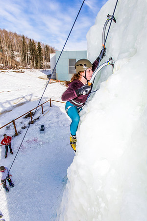 Engineering major Mia Anderson enjoys a late season climb up the UAF ice wall on April 4.  Filename: LIF-14-4132-80.jpg