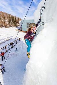 Engineering major Mia Anderson enjoys a late season climb up the UAF ice wall on April 4.  Filename: LIF-14-4132-80.jpg