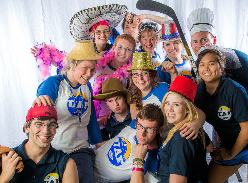 """Students pose in the UAF Facebook photobooth during a back-to-school orientation party in the Wood Center.  <div class=""""ss-paypal-button"""">Filename: LIF-12-3517-128.jpg</div><div class=""""ss-paypal-button-end"""" style=""""""""></div>"""