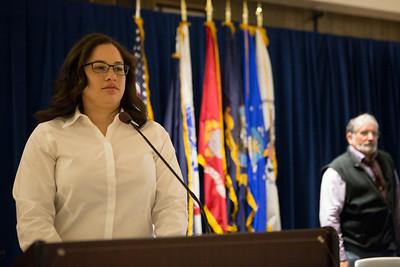 Student veterans president Macherie Dunbar speaks at the Honoring Vietnam Veterans Ceremony.  Filename: LIF-14-4124-73.jpg