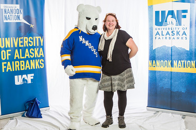 Future UAF students and family members pose with the Nanook mascot during Inside Out.  Filename: LIF-16-4839-65.jpg