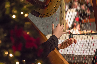 A harpist performs with the Fairbanks Symphony during its annual holiday concert in the Davis Concert Hall.  Filename: LIF-12-3669-92.jpg