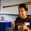 "Ashleigh Strange balances a baseball bat while on break from resident assistant training before students attending the fall semester enter the residence halls Thursday, August 16, 2012 at the Hess Rec. Center. About forty RAs attended the training.  <div class=""ss-paypal-button"">Filename: LIF-12-3498-69.jpg</div><div class=""ss-paypal-button-end"" style=""""></div>"