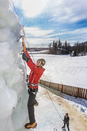 Engineering major Ryan Kudo enjoys a late season climb up the UAF ice wall on April 4.  Filename: LIF-14-4132-153.jpg